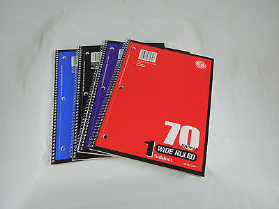 Wide Rule Spiral Bound Notebook 70 Sheet 10.5 By 8 Inch Notebooks Case Of 24