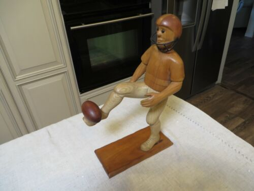 """FOOTBALL PLAYER by Romer Italy Wooden Figurine 12"""" tall"""
