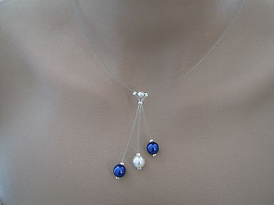 Cheap Blue Necklaces (Necklace Beads Dark Blue Navy Blue White P Dress Bridal Wedding Party)