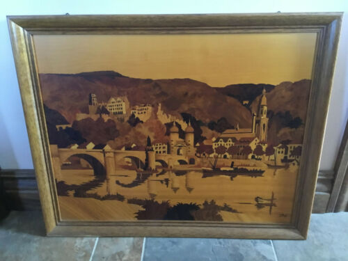 Vintage Buchschmid Gretaux Wood Inlay Picture Very Large Framed Heidelberg