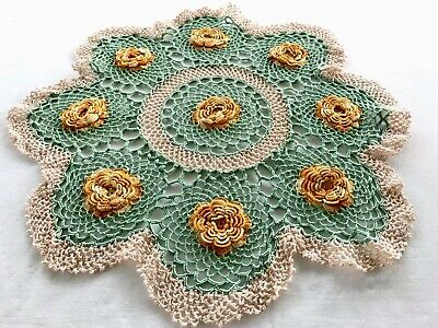 Vintage Large Hand Crochet Green Orange Raised Flower Table Centre Doily