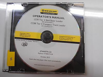 New Holland Skid Steer L230 C238 Tier 4 Operators Owners Manual Cd