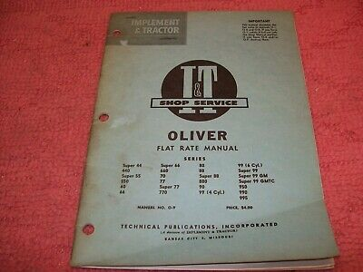 Oliver 55 60 66 70 77 80 88 90 99 99gm Tractor Flat Rate It Shop Service Manual