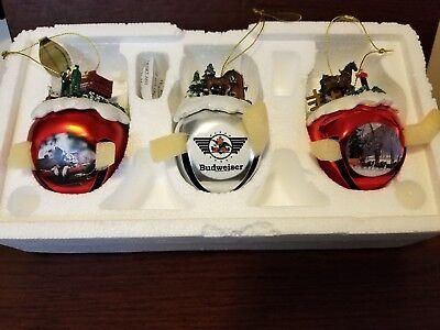 THREE Budweiser Clydesdale Sleigh  Bells Christmas Ornament - set # 5
