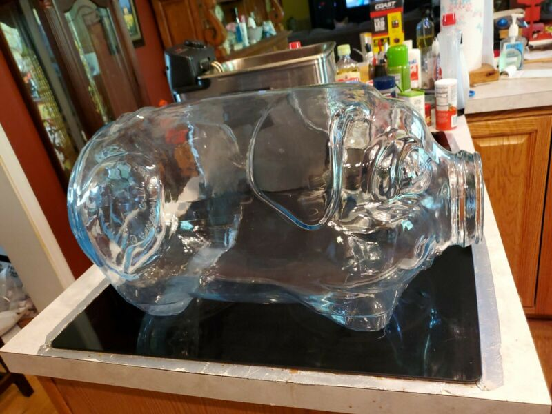 Vintage Libbey This Little Pig Went to Market 5 Gallon Glass PIGGY BANK JAR JUG