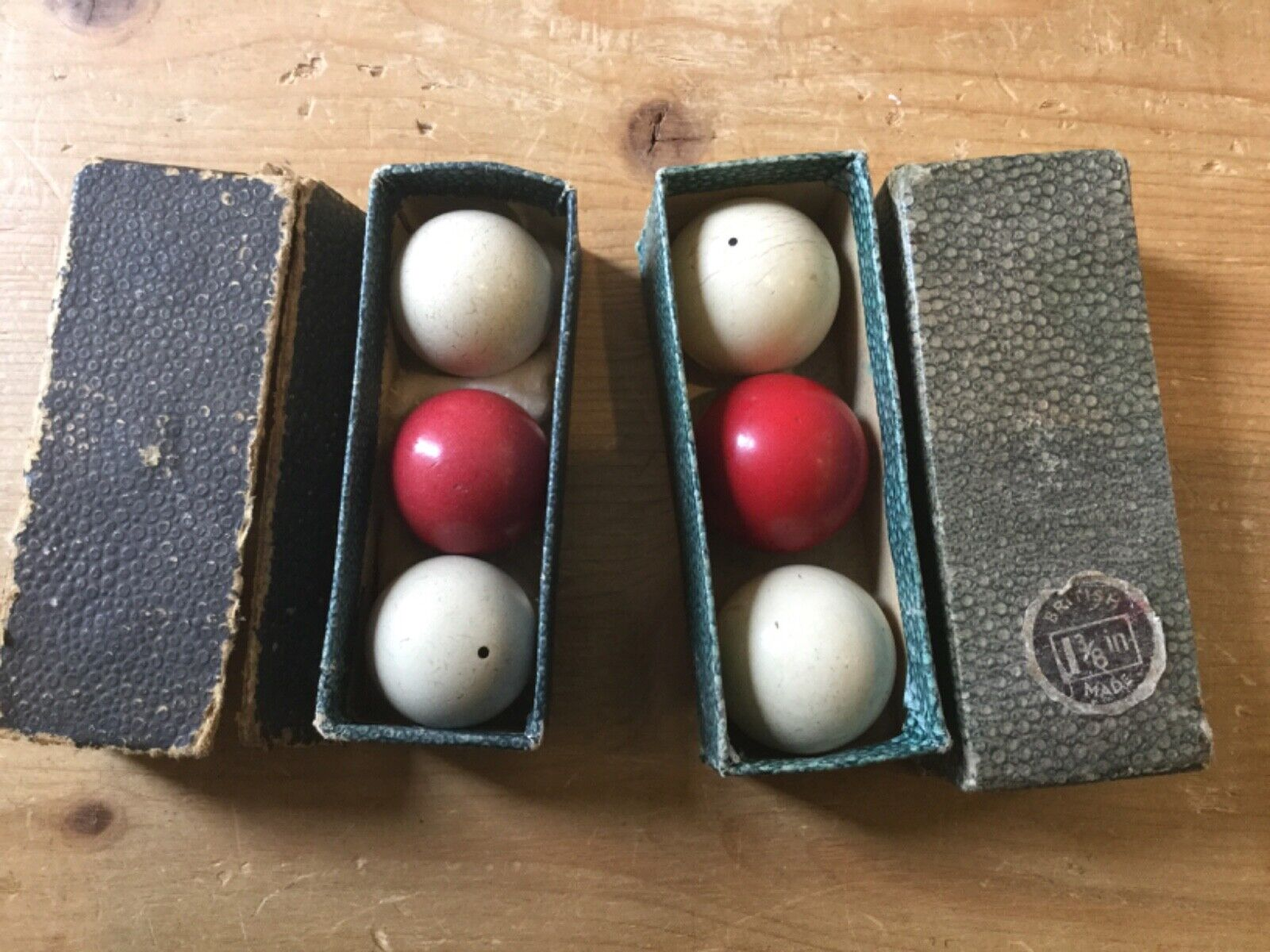 TWO SETS OF ANTIQUE BILLIARD BALLS - 1 1/4 and 1 3/8 - IN BOXES