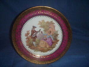LIMOGES FRANCE LA REINE PORCELAIN PLATE FRAGONARD MUSICIAN COURTING COUPLE 25cmD