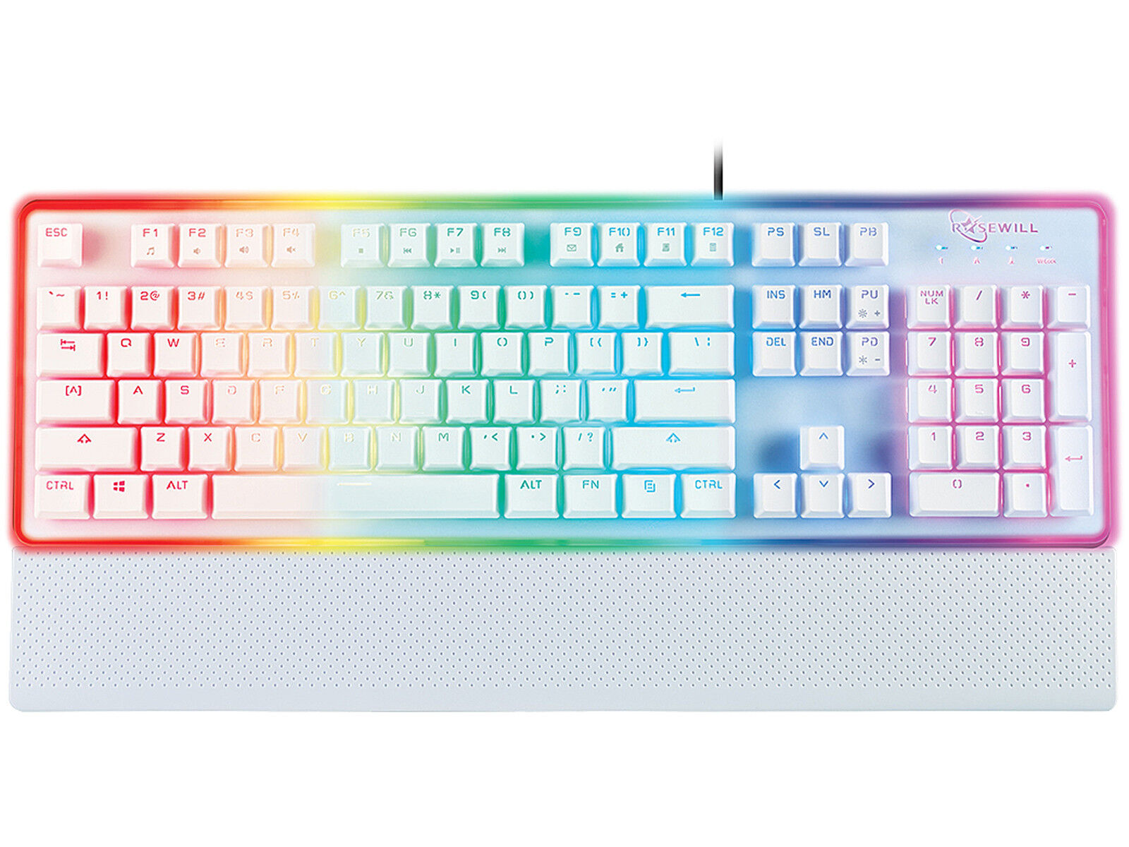 Rosewill RGB Gaming Keyboard, Wired, Membrane Mechanical, Wh
