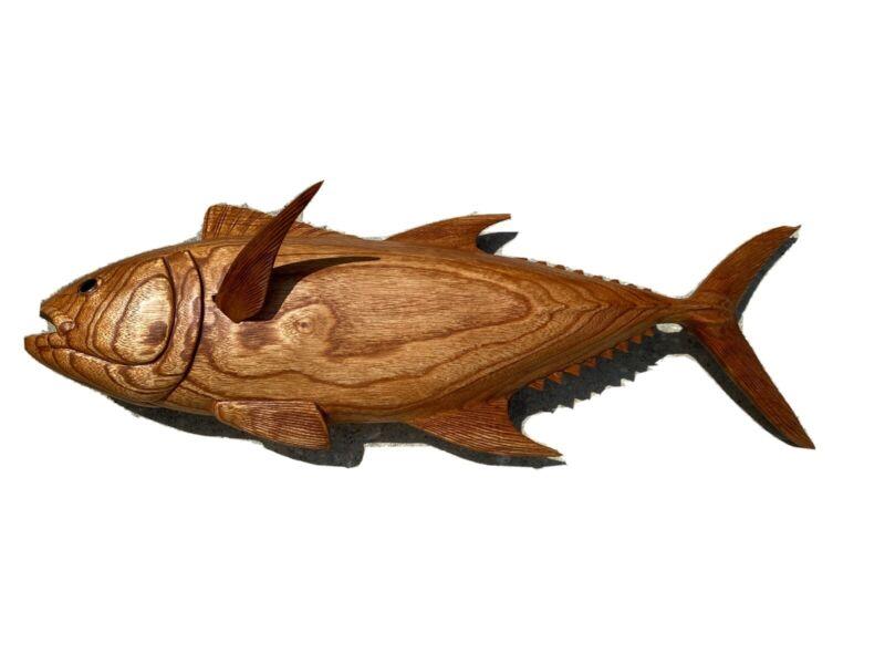 TUNA WALL HAND CARVED WOOD ART HOME DECOR FISH TIKI BAR SALTWATER