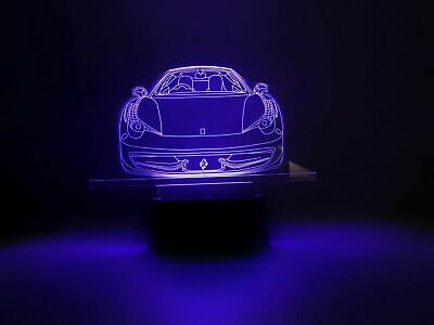 Ferrari 3D Optical Illusion Colour Changing LED Lamp New