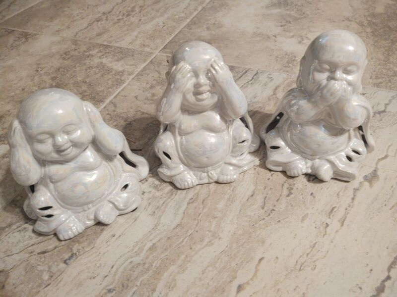 NEW GC Naturals 3 Ceramic Hear No, See No, Speak No Evil Buddhas