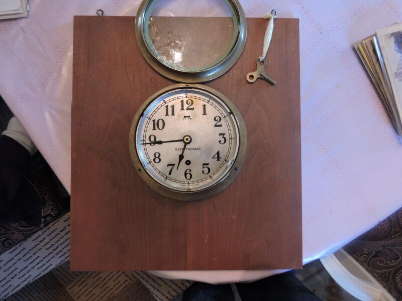 Choice 1940s Mounted Brass Seth Thomas Nautical Clock + Key Ship Boat