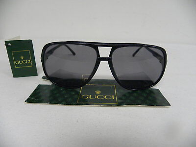 New Vintage Gucci GG 1106/S 75S Black Aviator Sunglasses Italy 1106 Sunglasses