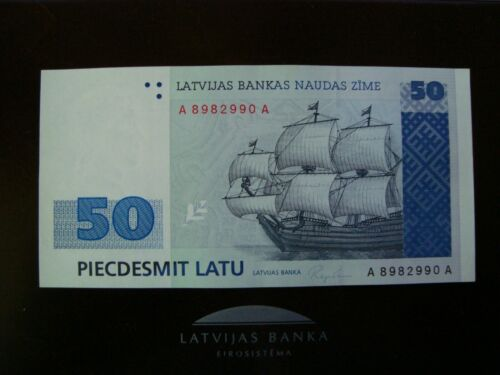 Latvia Lettland 50 latu 1992 banknote A 8982990 A UNC