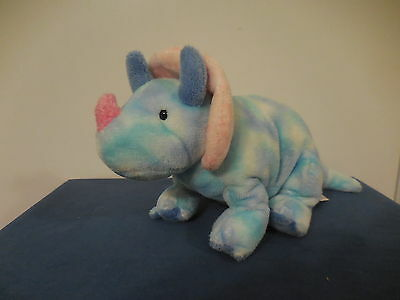 TY Pluffies TRUMPS the Blue Dinosaur Plush Baby Toy Lovey 2005 RETIRED
