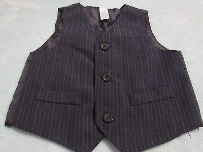 GEORGE, BOY'S Navy Blue Polyester Bl Pinstriped Vest for a Suit, Size 18  Mo](Navy Blue Suits For Boys)