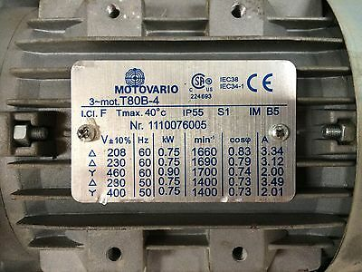 Motovario Electric Motor 1hp With Gear Box Reducer Detail Info In Picture Set