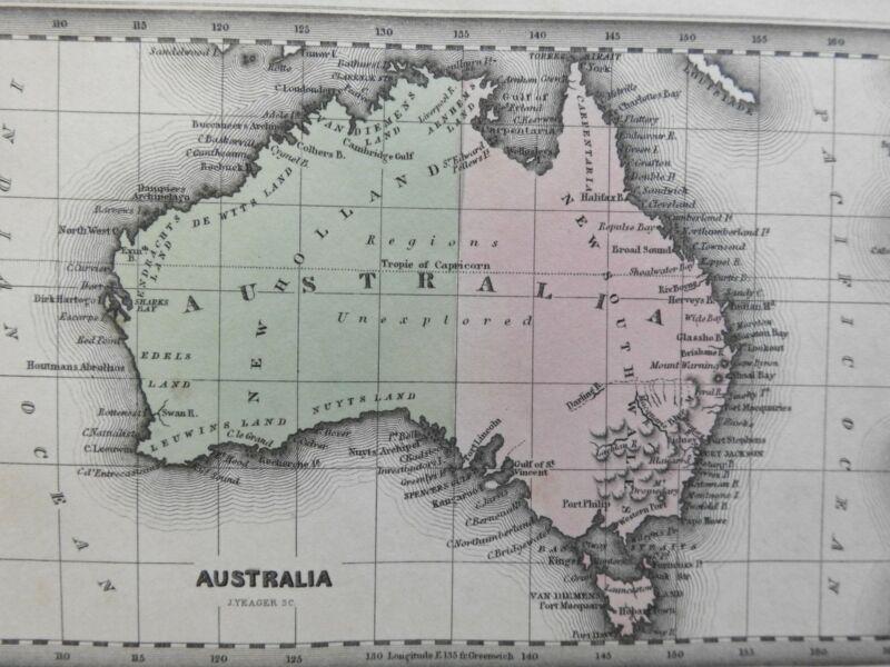 Australia Unexplored New Holland New South Wales Tasmania 1832 miniature map