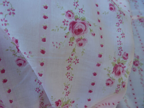 Ticking Stripe Pink Raspberry  Roses  on Light Pink  Cotton Lawn Soft Drape BTY