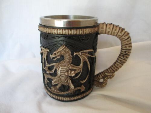 Gothic Medieval Dragon Skeleton Resin Beer Mug Stein Stainless Steel Liner