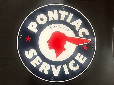 Vintage Pontiac Service  Metal Porcelain Enameled Advertising Sign