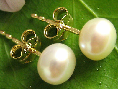 B WARE Bouton Ohrstecker 333 Gold Zucht Perlen Damen Ohrringe Perlenstecker 7mm