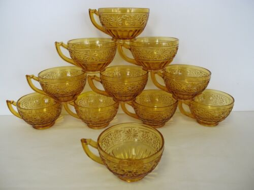 11 INDIANA DEPRESSION GLASS DAISY TOPAZ AMBER TEACUPS