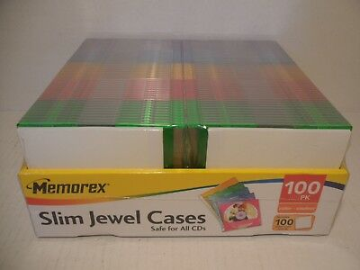 Memorex 100 Slim Jewel Cases 5 Colors-100 Inserts-to Make Cds-new Never Opened