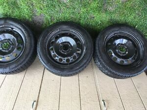 SET OF 4 WINTER TIRES ON STEELIES