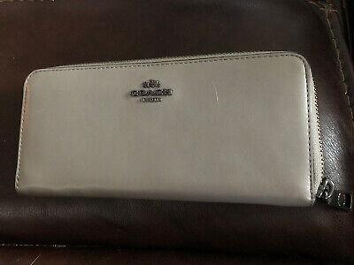 Coach Tan Khaki  Leather Zip Around Wallet Accordion Wallet