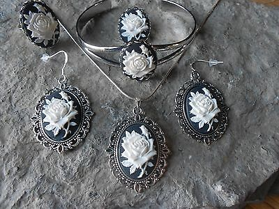 -5 PIECE JEWELRY SET -WHITE ROSE CAMEO NECKLACE, EARRINGS, BRACELET, RING, PIN