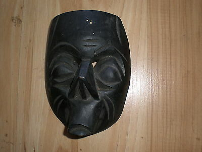 Hand Carved/Hand Painted Wood Mexican Culture Mask Decor Wall Hang - Black