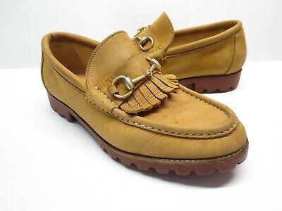Men's Vintage Gucci 111 6027 Brown Suede Leather Horsebit Kiltie Loafers 43.5