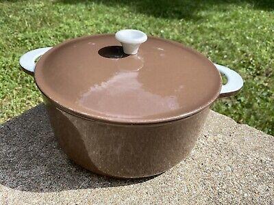 Vintage FINESSE Japan Brown Enamel Cast Iron 5 Liter Dutch Oven w/Lid