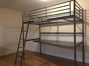 IKEA Twin loft bed frame with desk top