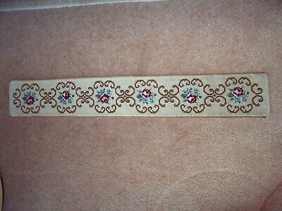 Antique tapestry runner embroidered with wool in floral design, satin backed