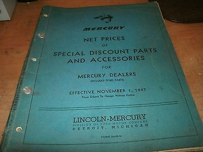 1947 MERCURY NET PRICES OF SPECIAL DISCOUNT PARTS AND ACCESSORIES DEALER MANUAL