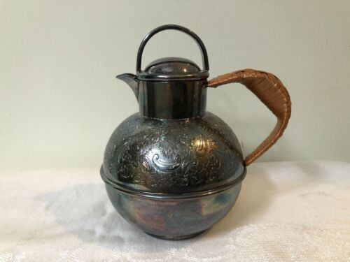 VINTAGE TEA SERVER CREAMER OR PITCHER EMBOSSED SILVERPLATE AND WICKER HANDLE