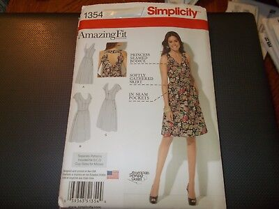 Simplicity Pattern 1354 Ms/Women AMAZING FIT Dress w/Gathered Skirt & Variations