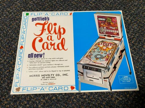 GOTTLIEB FACTORY ORIGINAL1970 FLIP A CARD  EM PINBALL PROMO FLYER