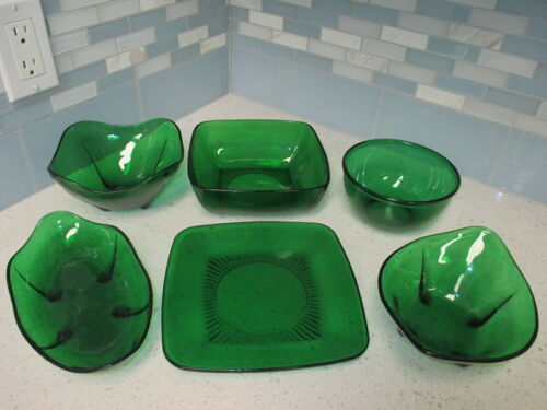 LOT 6 VINTAGE ANCHOR HOCKING FOREST GREEN VARIETY SERVING BOWLS & CANDY DISHES