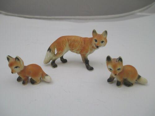 Vintage Fox figurine family ceramic mom babies