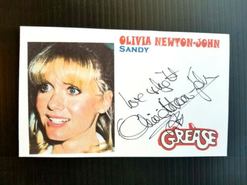 "OLIVIA NEWTON-JOHN ""GREASE"" ""SANDY"" AUTOGRAPHED 3X5 INDEX CARD (BEND TOP CENTER)"