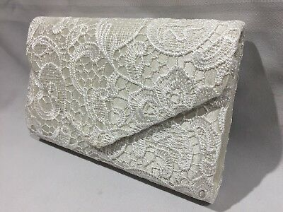 FLORAL LACE COVERED ENVELOPE STYLE EVENING CLUTCH PURSE REMOVABLE CHAIN STRAP