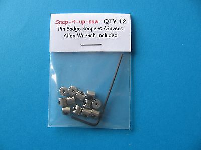 12 Badge Pin Keepers / Locks, replace butterfly back fixings to keep badge safe.