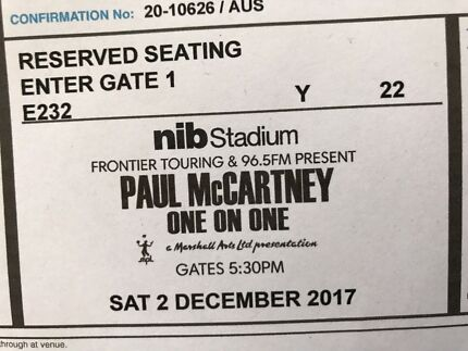 Image result for paul mccartney perth 2017 ticket