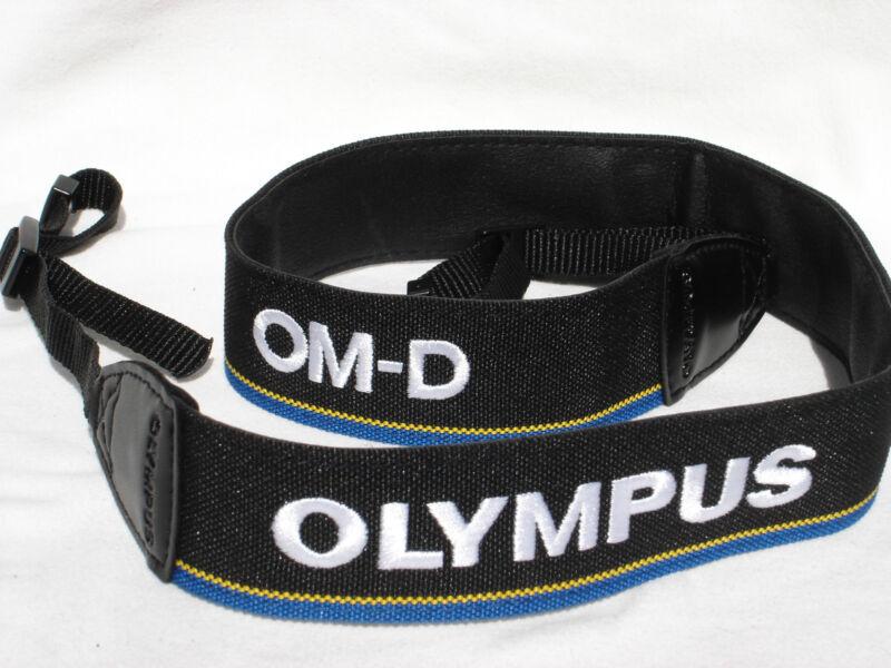"OLYMPUS OM-D E-M1 Camera strap Black / Blue / White/ Yellow 1 1/2"" wide  #00209"