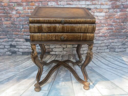 VINTAGE MAITLAND SMITH FAUX STACKING BOOK TABLE GENUINE LEATHER w/ GODDESS LEGS