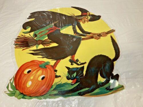 Vtg Halloween Die-Cut Witch On Broom JOL Black Cat Moon Transparent Plastic