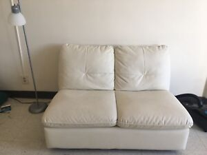 White double leather sofa